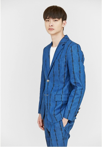 Life8 blue Life8 x Daniel Wong。Thorns Suit Jacket-03662-Blue LI286AA02BGVMY_1