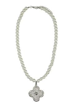 Clover Rhinestone Pearl Necklace