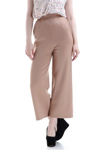 Evernoon beige Xana Celana Kulot Bawahan Wanita Motif Solid Design Simple Fashionable Woman - Mocca 5AEC5AA0446C4CGS_1