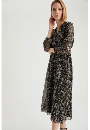 DeFacto black Long Sleeve Midi Dress EF95EAA7A70C2AGS_1