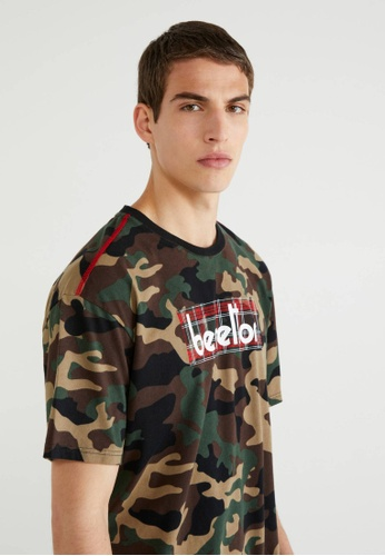 United Colors of Benetton green Camouflage T-shirt with Logo 79CF1AACA91C09GS_1
