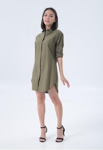 3BULBS green 3bulbs Casey Dress in Army Green FB65EAA37A78B1GS_1