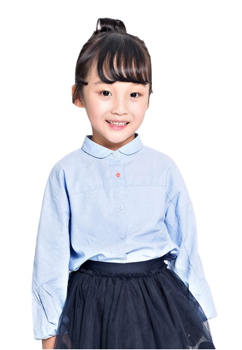 M.Latin blue Button Blouse with Puff Sleeves 7402EKAE59D041GS_1