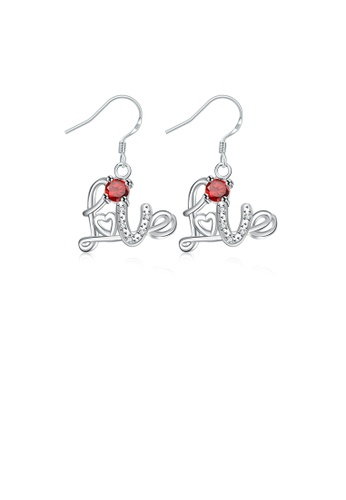 Glamorousky red Fashion Sweet Love Letter Earrings with Red Cubic Zircon F7553ACD4A53B1GS_1