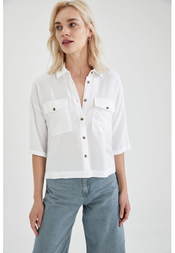 DeFacto white 3/4 Sleeve Viscose Shirt A3CE8AA8C236FBGS_1