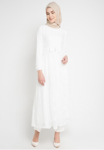 FAME white Fit & Flare Festive Gamis 053C7AA011C6B6GS_1