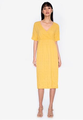 ZALORA BASICS yellow Short Sleeve Shirred Dress E54CFAA23711E6GS_1