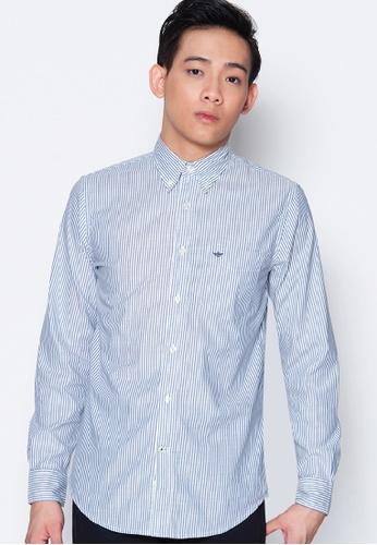Dockers grey Dockers Long Sleeve Premium Weathered Oxford Shirt Moonlit Ocean 4C834AA23EAE05GS_1