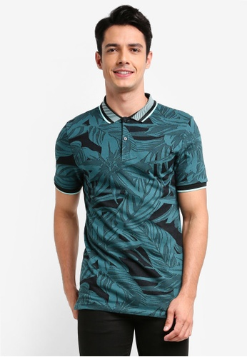 River Island green Jacquard Polo Shirt 0A4D1AAE03E828GS_1