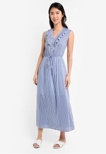 ZALORA multi V Neck Tie Waist Maxi Dress 71F04AAA1EF687GS_1
