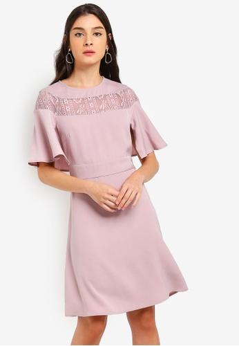 ZALORA pink Lace Cape Dress 1C5F8AA9349B77GS_1