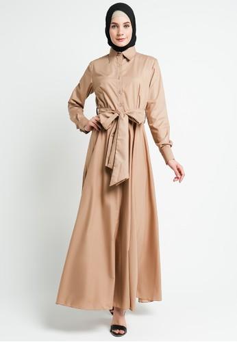 BellyBee beige and brown Kesha Dress Brown 5FD33AA0958BD5GS_1