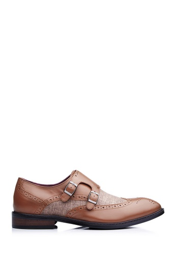 BONIA brown Men Brown Jacquard Full Brogue Shoes 1E219SHE85C3F4GS_1