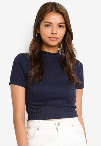 Cotton On blue and navy Beth Mock Neck Rib Top 8B855AA1C77616GS_1