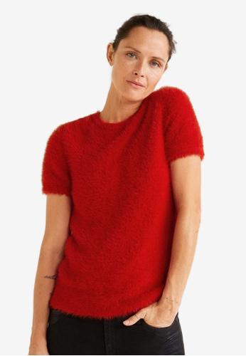Mango red Textured Knit Sweater C696BAADBF0727GS_1