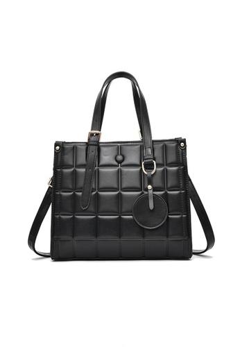 Lara black Women's Square Embossed Leather Zipper Handbag Shoulder Bag - Black A23F1ACC3A3958GS_1