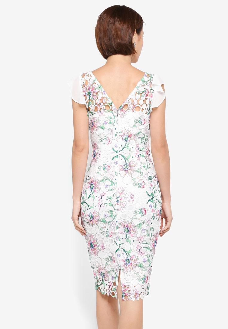 Pretty Detail Paper White Crochet Printed Dolls Lace Multi Chiffon Dress wBgq1w47