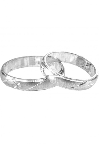 Silverworks silver Sanblasted Silver Band Ring 4mm SI696AC90SFXPH_1