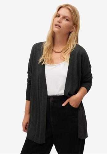 Violeta by MANGO grey Plus Size Fine-Knit Cardigan 1C505AAA128DF1GS_1
