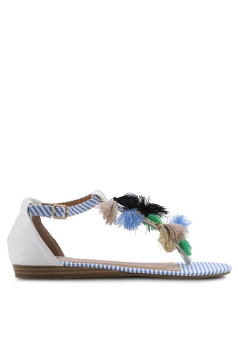 Divine Factory white and blue Ferlyn Sandals 8F09CSH336AB90GS_1