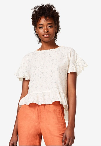 ESPRIT white Woven Short Sleeve Blouse A6806AA77DCCDCGS_1