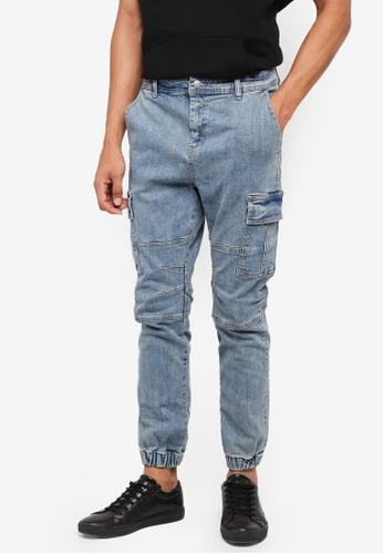 Cotton On 藍色 縮口修身牛仔褲 D9929AAFC44D89GS_1