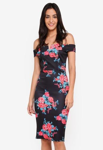 MISSGUIDED black Floral V Front Bardot Midi Dress 9AF01AA10233A3GS_1