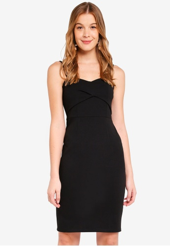 Dorothy Perkins black Pleat Front Strappy Bodycon 94EF0AAC8E75EBGS_1