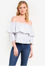 ZALORA white Off The Shoulder Ruffle Sleeve Top D7EB6AA880CE59GS_1