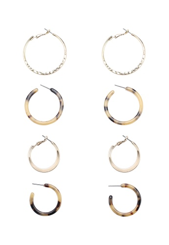 ONLY 米褐色 Krissa 4 Pack 耳環 DE7EAAC6FD9966GS_1