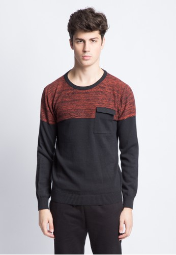 KENT & CREW navy KENT&CREW TWO-TONE SWEATER 51F57AA6ADDF6DGS_1