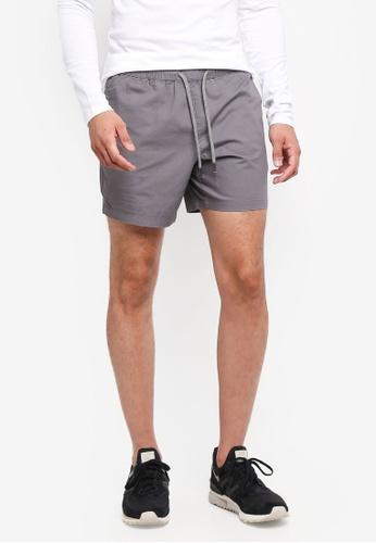 Topman grey Charcoal Grey Ripstop Shorts EE367AAB2FE39EGS_1