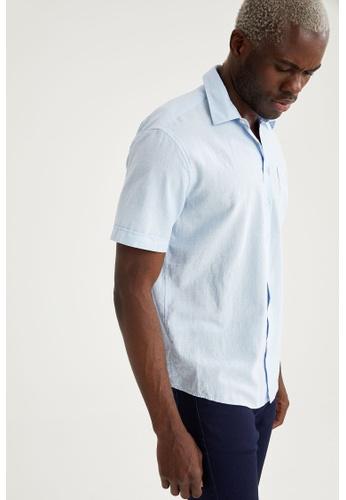 DeFacto blue Short Sleeve Coton Shirt DB49EAAD03CB0FGS_1