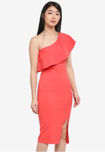 MISSGUIDED pink One Shoulder Frill Split Midi Dress 0EC14AAB0A9D17GS_1