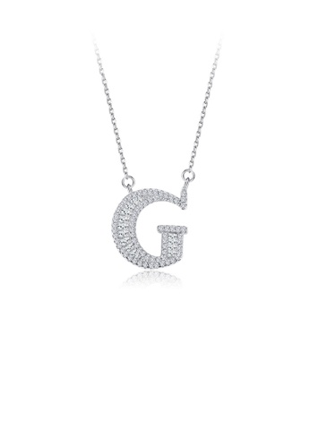 Glamorousky white 925 Sterling Silver Fashion Personality English Alphabet G Cubic Zircon Necklace AE121AC15A82DCGS_1