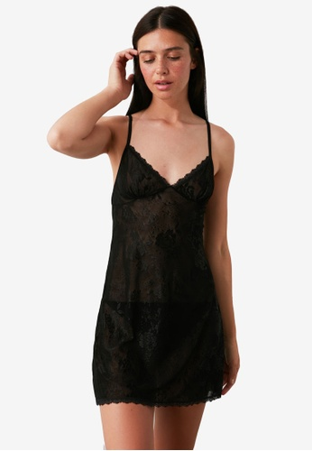 Trendyol 黑色 Lace Babydoll Nightie 306B8AA6012786GS_1