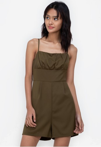 ZALORA BASICS green Ruched Detail Playsuit 77B23AAABD3758GS_1