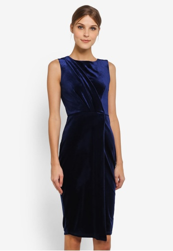 CLOSET navy Draped Sleeveless Wrap Dress CL919AA0SIKVMY_1