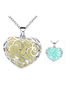 YGN065-B Heart Shaped With Night Fluorescent Cyan Pendant Necklace Party Jewelry