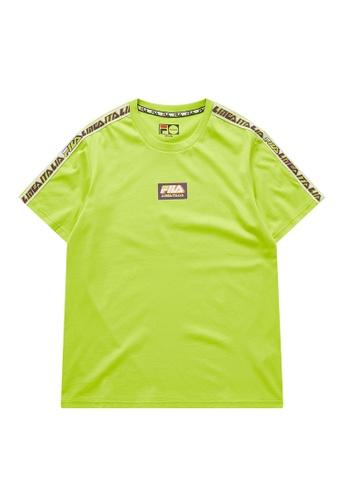 FILA green Fusion BTS FILA LINEA ITALIA Logo Side Taped Cotton T-shirt 3E43BAA4C8AF46GS_1