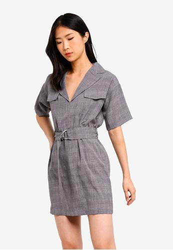 ZALORA BASICS grey Basic Lapel Collar Dress 80A71AA2D1F348GS_1