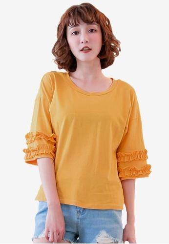 Tokichoi yellow Frill Sleeve Basic Tee 3AC18AAF4B543DGS_1