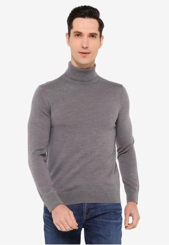 Banana Republic 灰色 Merino Turtleneck Sweater 51E4FAA411EDA5GS_1