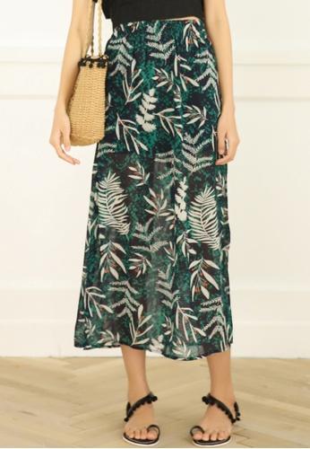 Shopsfashion green Floral Side Split Skirt F63CCAAC104BDDGS_1