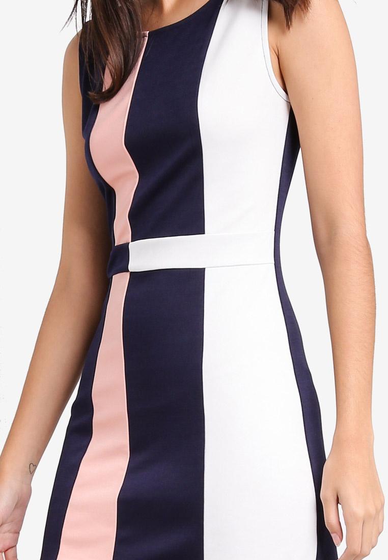 Dress ZALORA Block White Colour Navy Sheath Peach 6wg1xtEq