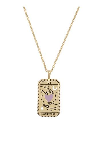 Wanderlust + Co gold L'Amoureux Gold Tarot Necklace B90E7ACF7A5C27GS_1