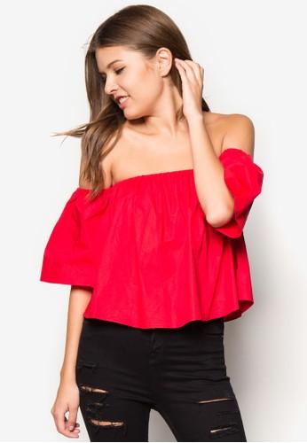 露肩短版上衣zalora時尚購物網評價, 服飾, 服飾