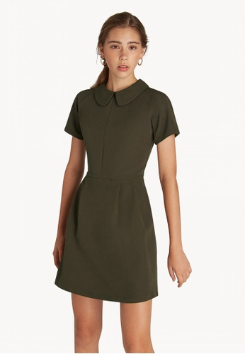 3d7aa5e1741 Buy Pomelo Mini Peter Pan Collar Dress - Olive Online on ZALORA ...