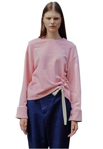 En Or pink Cotton Shirring Strap Shirt EN523AA0GSXZSG_1