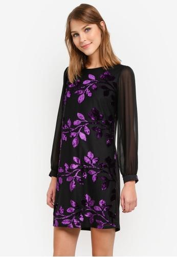 Dorothy Perkins black Velvet Jacquard Shift Dress DO816AA0SD4LMY_1